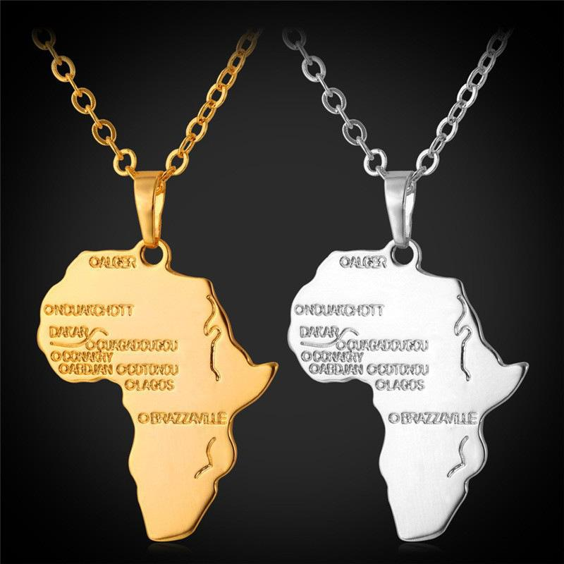 Wholesale U7 Africa Map Pendant Necklace 18k Real Rose Gold Unisex