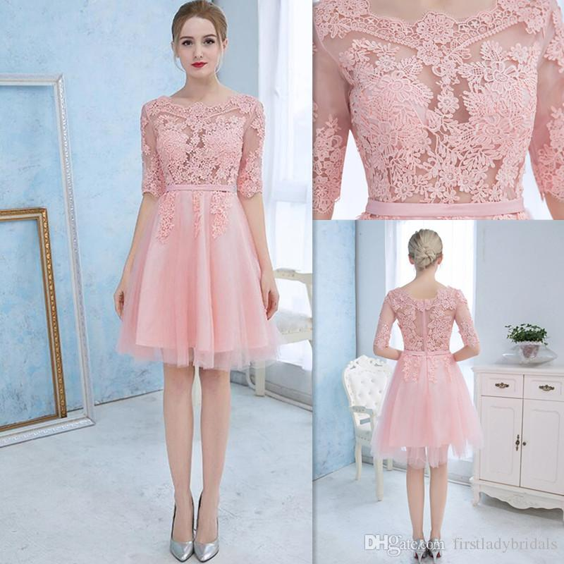 Cocktail Dress Evening 2016 Pink Lace Sheer Illusion Half Sleeves ...