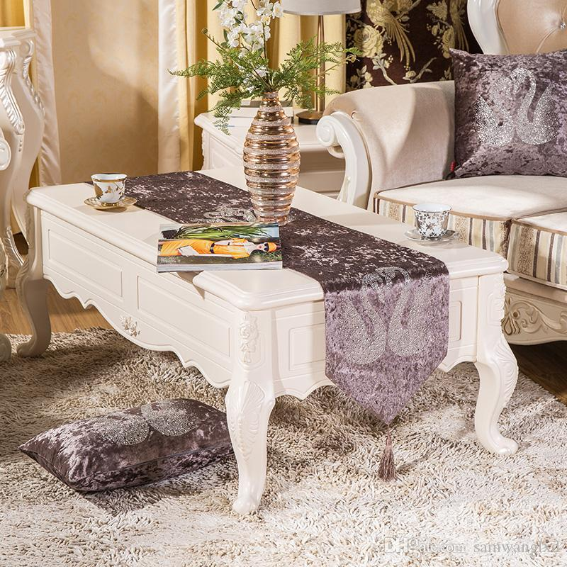 32cmx200cm Europe Style Luxury Velvet Rhinestone Table Runner Cloth For  Wedding Dining Table Decorations Swan Printed New Table Linens Cheap Table  Linens ...