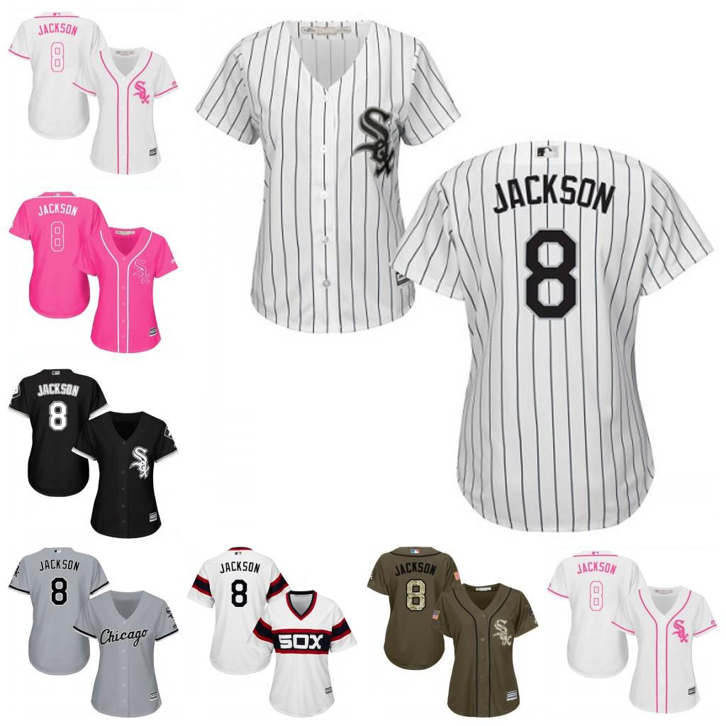 4485e1e7e ... Jerseys for 2017 Womens Majestic Chicago White Sox 8 Bo Jackson White  Black Pink Fashion Grey Cool Base ...