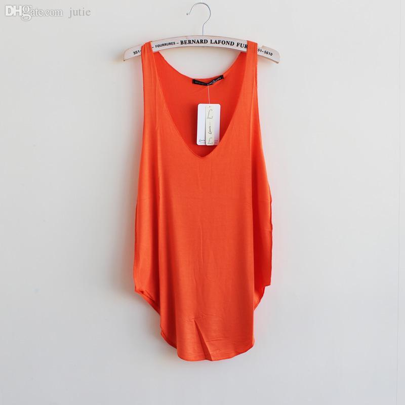 f6d284d40e42a9 2019 Wholesale Loose Design Vest Deep V Neck Tank Tops For Woman Ladies  Modal Sleeveless Shirt Summer Basic Tops  Amp  Tees Black Gray Orange From  Jutie