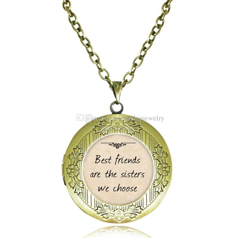 Best Friend Locket Necklace Best Friends Are The Sisters We Choose Quote Pendant Inspiring Words Jewelry Glass Cabochon Letter Necklaces