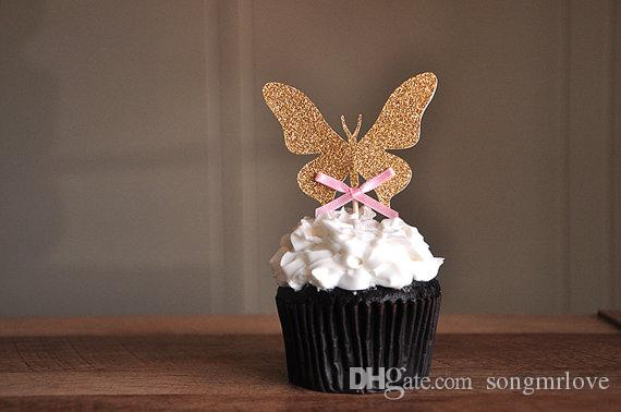wholesale glitter garden party butterfly cupcake toppers inserts