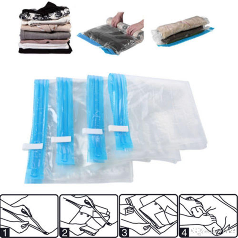 2018 Hand Roll Transparent Vacuum Compressible Bag Foldable Clothing Storage Bags Save Space Travel 4 Size From Home5 262