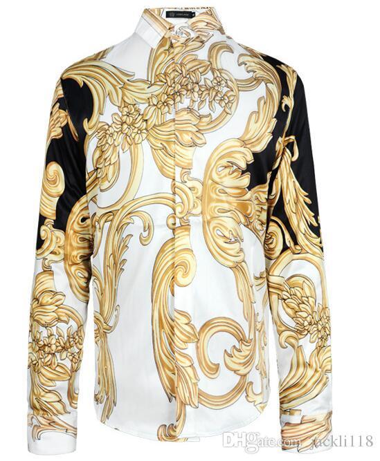 Nouveaux hommes marque chemises look look manches longues plus la taille 3d robe chemise concepteur de luxe chemises hommes vêtements