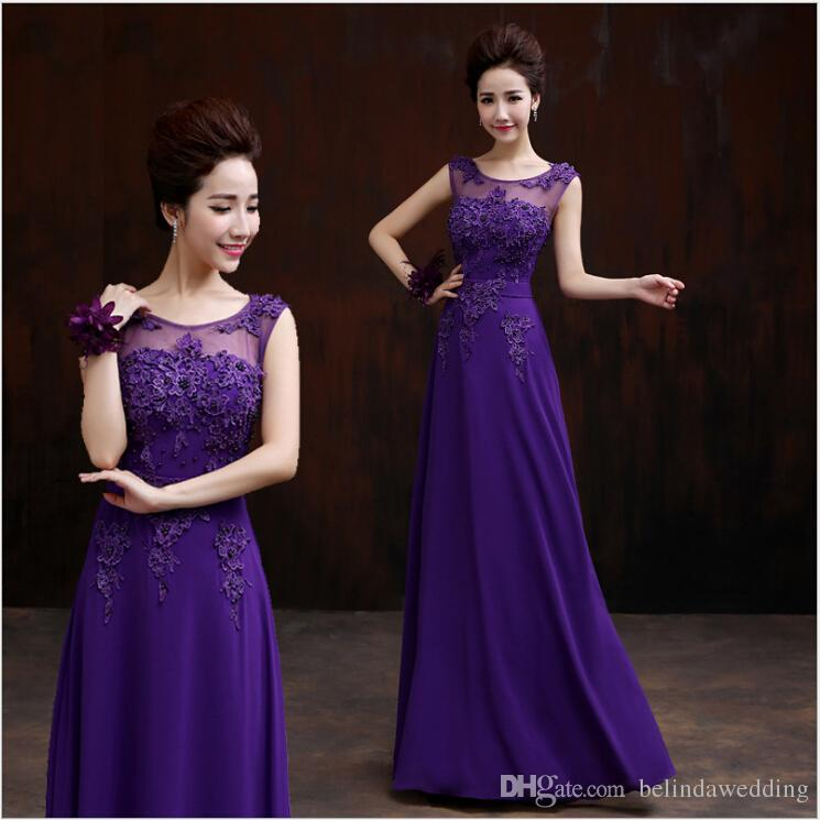 Purple Bridesmaid Dresses Sexy See Through High Neck Long Chiffon ...