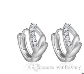 2017 Nouvelle Arrivée Top qualité S925 Argent Rose Or Boucle d'oreille pour les femmes sertie de cristal E008
