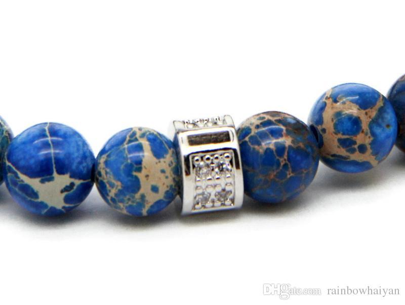 Новый дизайн высокого класса ювелирные изделия оптом 8 мм синий морской осадок камень шарик с бронзовым золотой и серебряный череп браслет