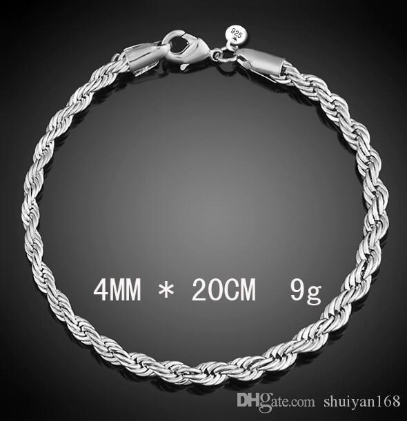 4mm 925 Sterling Silver Plated Twist catena di corda Bracciali le donne Uomini Wedding Party Braccialetto europeo Charms Bracciali Fit perline di Murano
