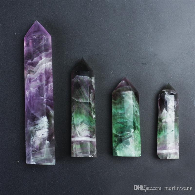 HJT en gros 290 g vente chaude Nouveau point de cristal naturel points de fluorite quartz reiki point de guérison cristal Cure chakra pierre