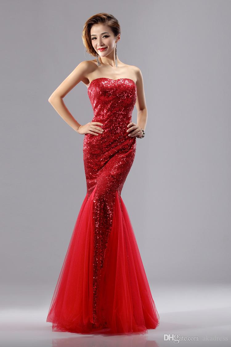 Gold Red Blue Silver Rose Pink Cheap Sequins Mermaid Prom Dresses ...