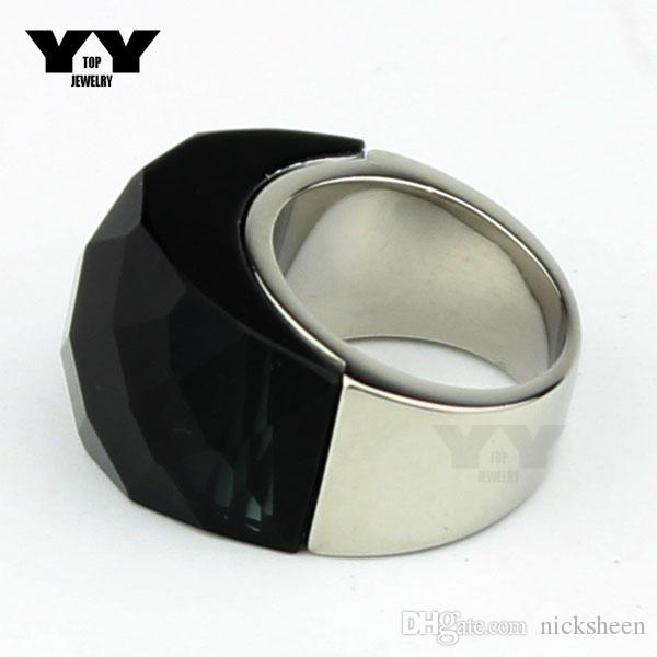 2016 la moda más reciente exagerada grandes anillos de cristal en color gris oscuro hecho a mano pulido de lujo 100% anillo de acero inoxidable 316L para mujeres