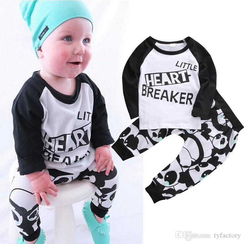 2c7fe93ed2be Kids Newborn Baby Boys girls Clothes fashion little heart breaker letters  printed Long Sleeve TShirts+cute Pants 2pcs Outfits top cotton Set