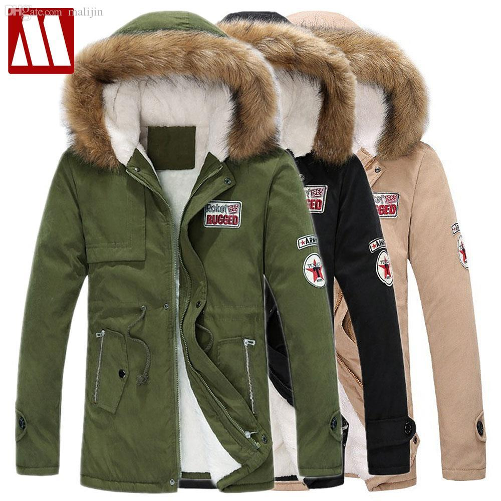 2018 Fall Winter Casual Canada Mens Fur Collar Coat Army Green ...