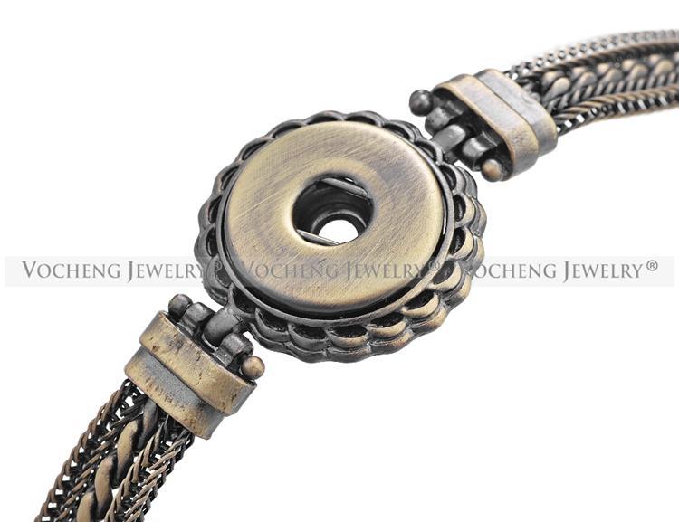 VOCHENG NOOSA Bracelet à breloques au gingembre 2 couleurs 18mm Bouton Antique Multi Chaîne NN-450