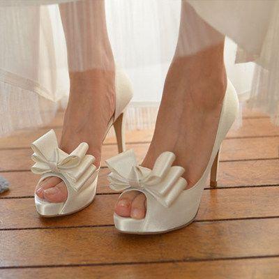 2016 Open Toe Bowtie Wedding Shoes Women Pumps White Red Pink High Heels  Bride Dress Shoes Bridal Prom Platform Sandals Big Size 43 Wedding Shoes  Online ...