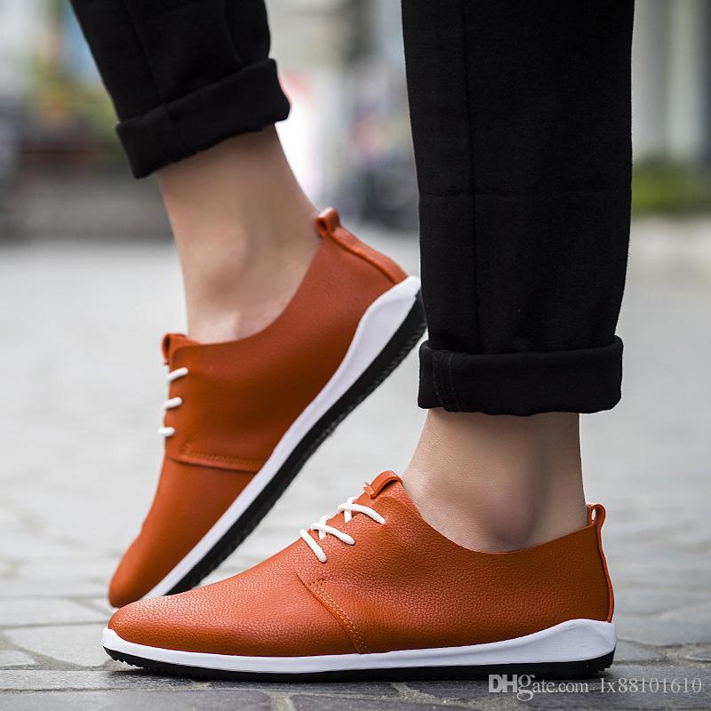 남자 신발 Sreathable Microfiber 가죽 남자 캐주얼 신발 비즈니스 남자 신발 순수 컬러 편안한 여름 패션 신발
