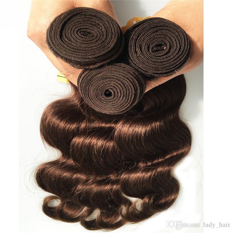 8A visón malasia marrón cabello humano # 4 marrón oscuro cabello malasio teje onda del cuerpo marrón chocolate 3 piezas malasia paquetes de cabello humano ofertas