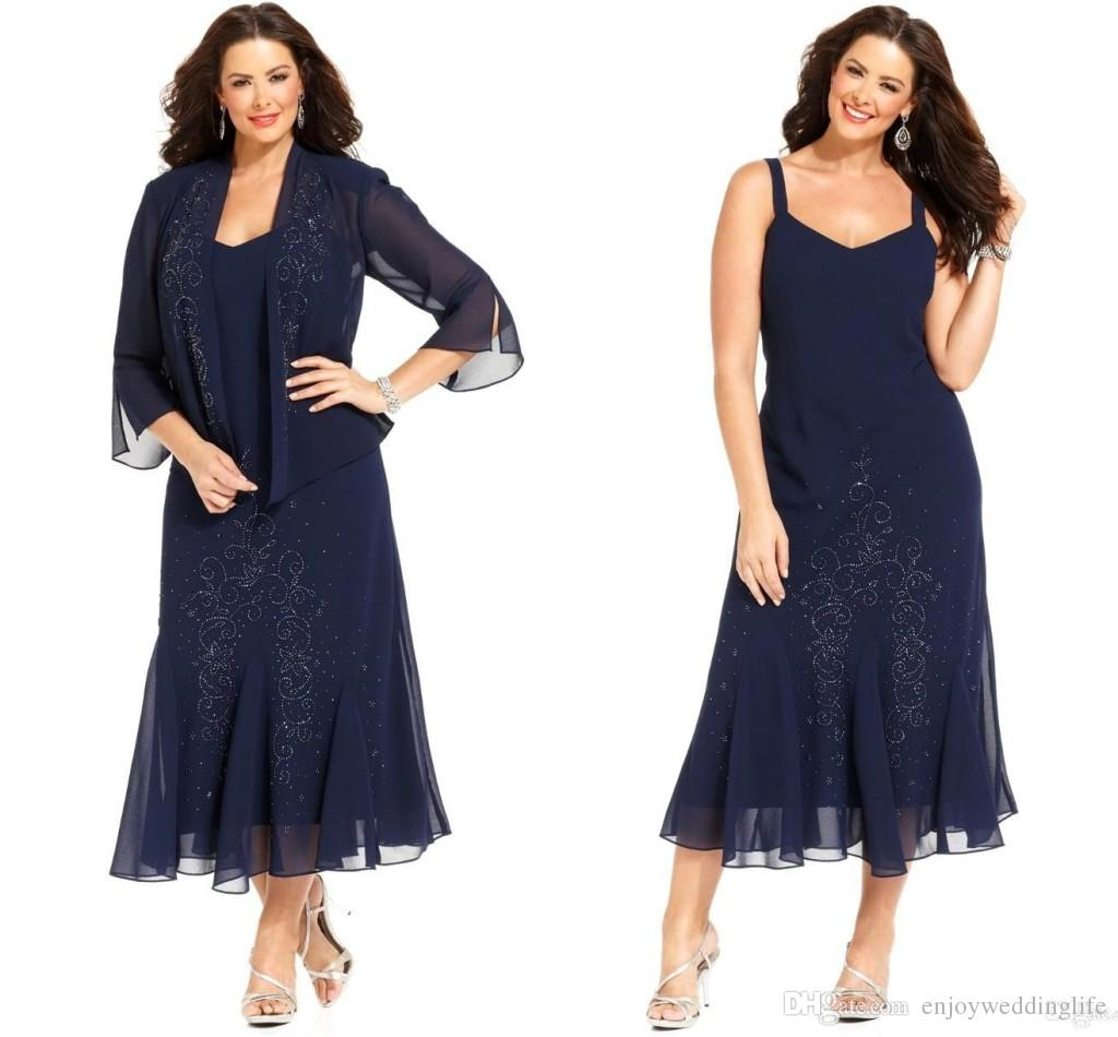 2016 Dark Navy Chiffon Tea Length Plus Size Mother The Bride