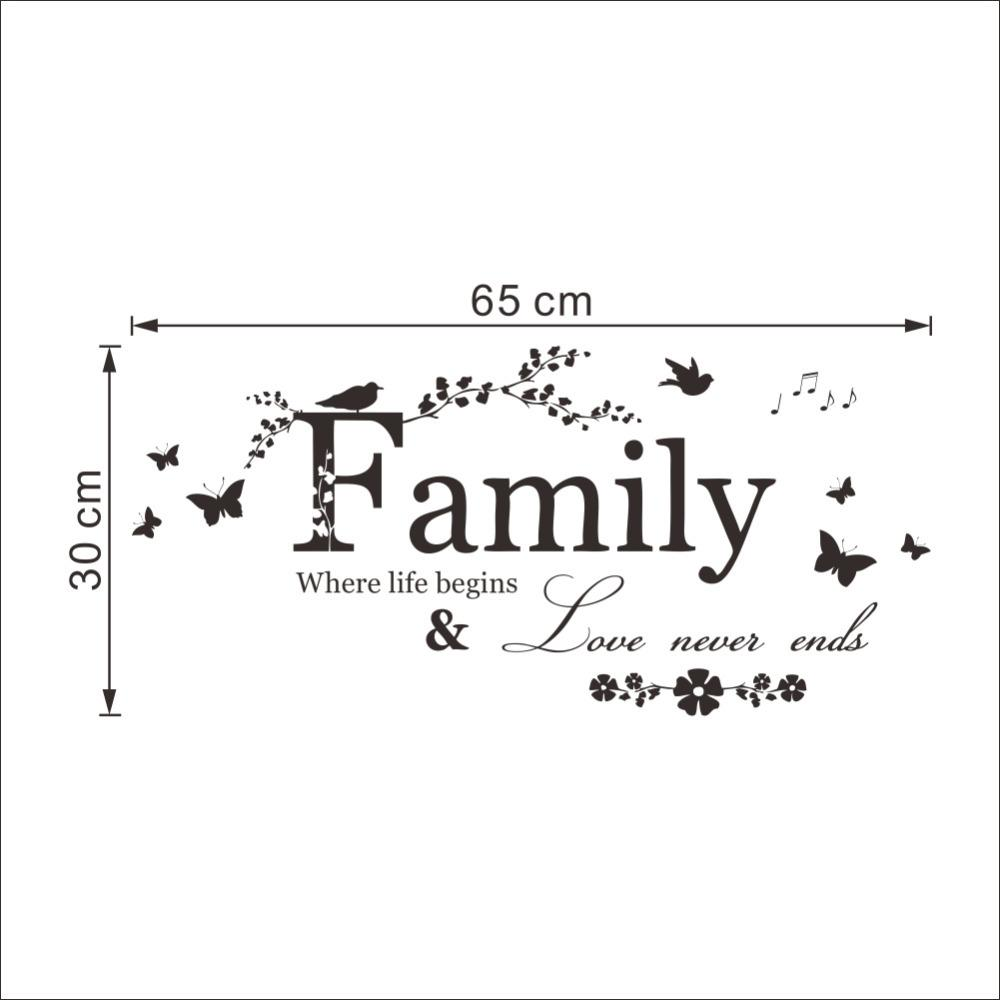 Love Art Quotes Family Love Never Ends Quote Vinyl Wall Decal Wall Lettering Art