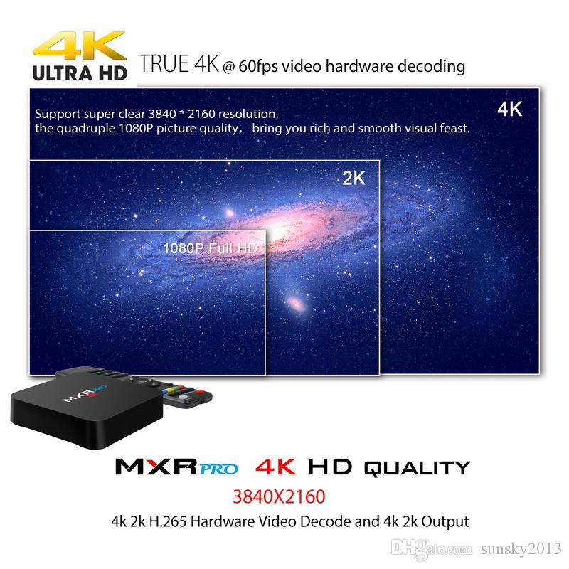 4GB 32GB TV Box Android 8.1 RK3318Quad Nucleo MXR Pro intelligente mini PC 4K 3D KD17.3 Media Player 2.4G / 5G si raddoppia Wifi Set Top Box 4G RAM 32G ROM