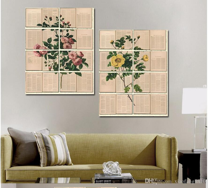Retro yellow flowers plants pictures pink rose decoration Canvas Painting wall Art newspaper book for living room decor unframed