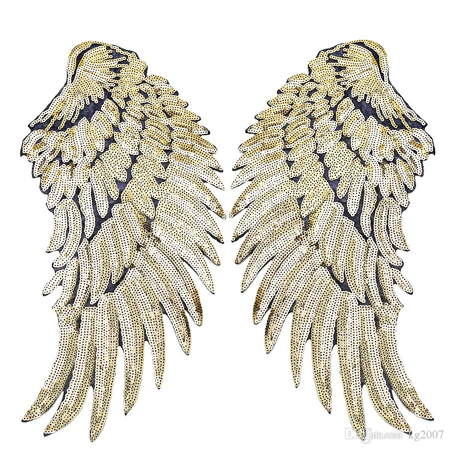 1 Pares de remendos de asas de lantejoulin para roupas de ferro no patch de applique de transferência para jeans jeans diy costurar em lantejoulas de bordar