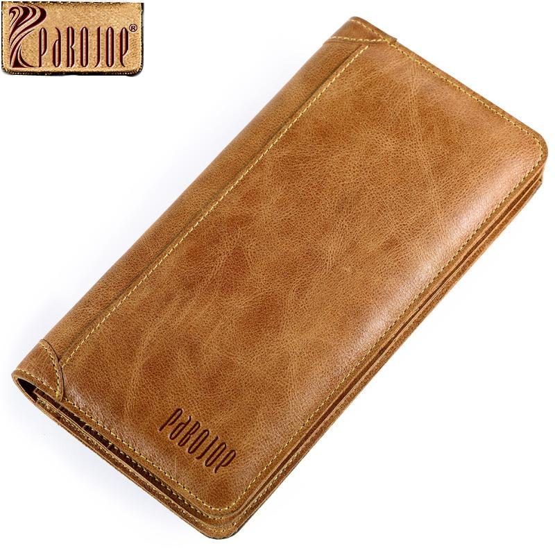 4a8221a26e12 Wholesale- Pabojoe Mens Bifold Wallet Genuine Leather Organizer Card Holder  Men Long Wallet Fashion Design