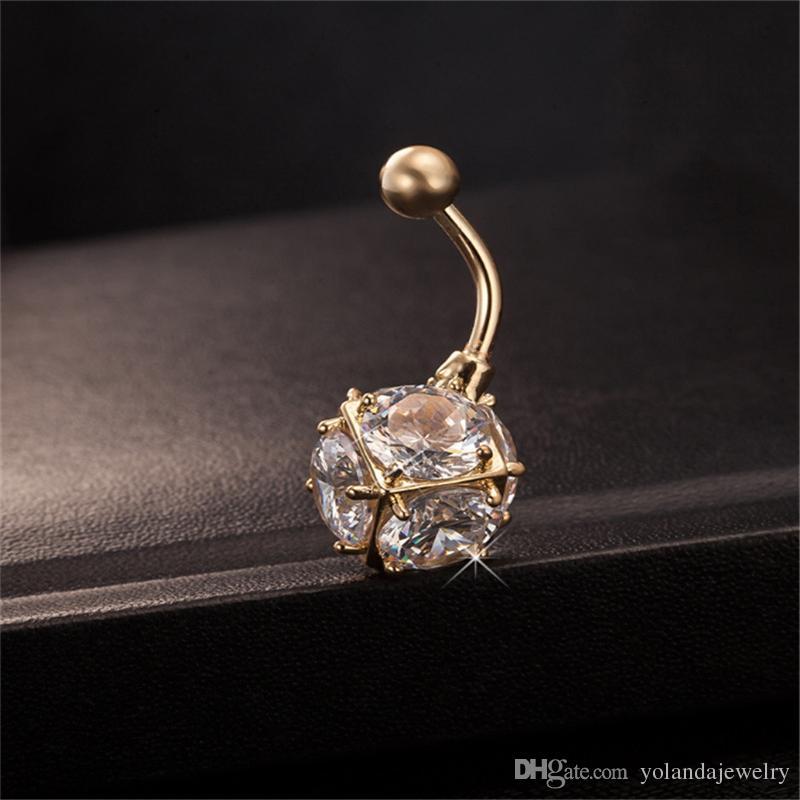 النساء البطن زر خواتم 18 كيلو الذهب الأصفر مطلي تشيكوسلوفاكيا مربع الجسم ثقب السرة الدائري مجوهرات للمرأة