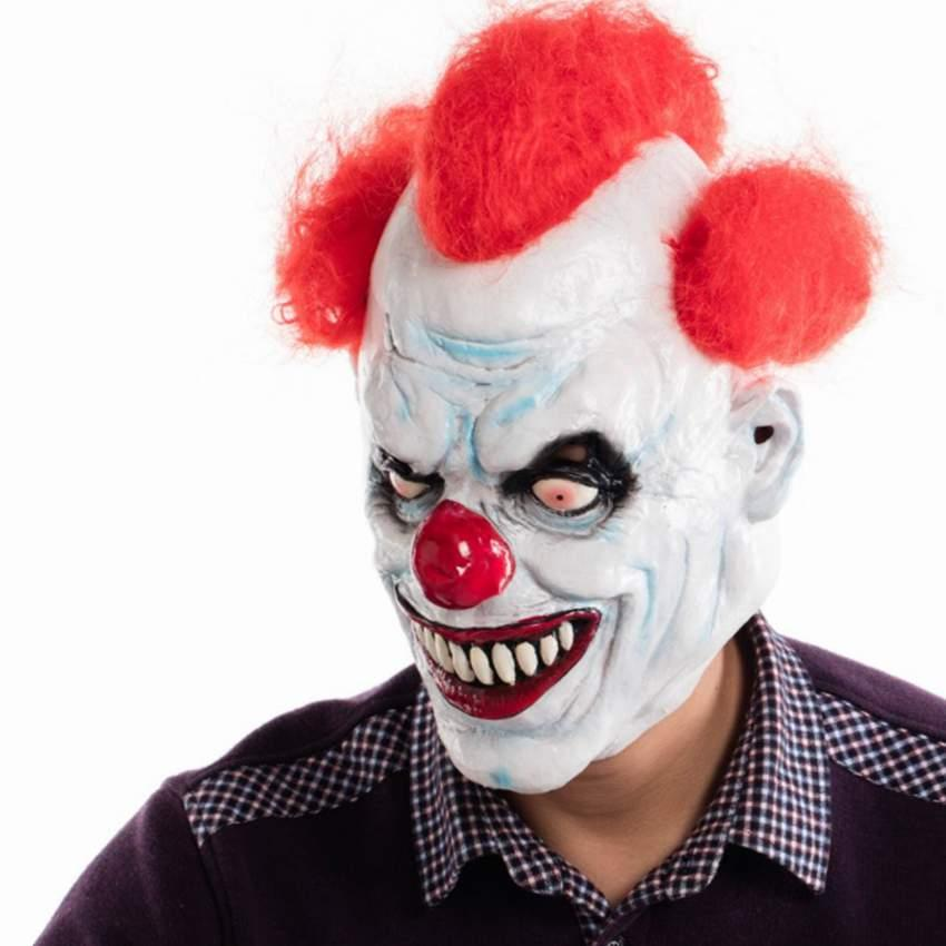 Halloween Clown.Ashanglife Joker Clown Costume Mask Creepy Evil Scary Halloween Clown Mask Adult Ghost Festive Party Mask Supplies Decoration