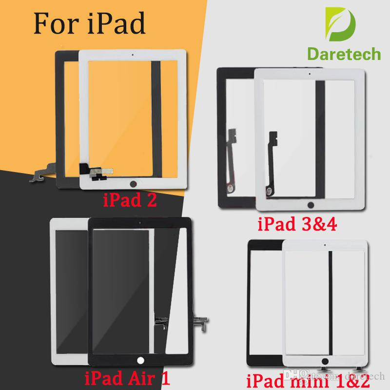 Per iPad Mini 1 2 iPad 2 3 4 iPad Air 1 2 Touch Screen Digitizer Assembly Sostituzioni con pulsante Home Colore nero