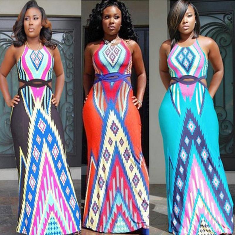 Vestidos de verano 2019 Estilo de verano Sexy Hollow Out Beach Backless Vestido largo Vintage Print Plus Maxi Dress Mujeres Vestido