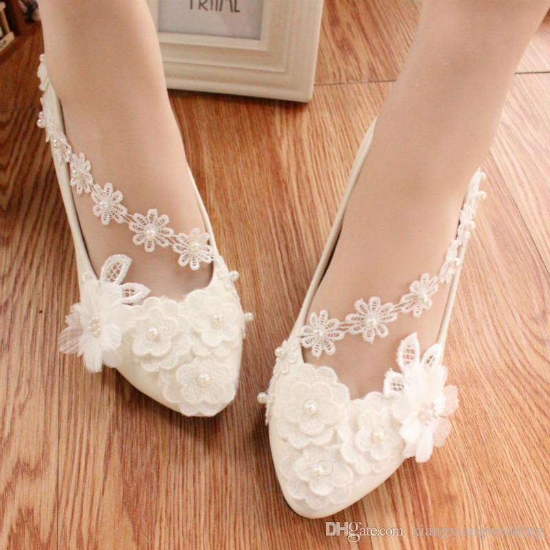 White Pearl Wedding Shoes Ballerina Flat Ankle Tie Lovely Pearl Lace Flower  Embroidery Bridesmaid Shoes Ballet Shoe Wedding Shoes Bridal Wedding Shoes  For ... c7cbe30e0f