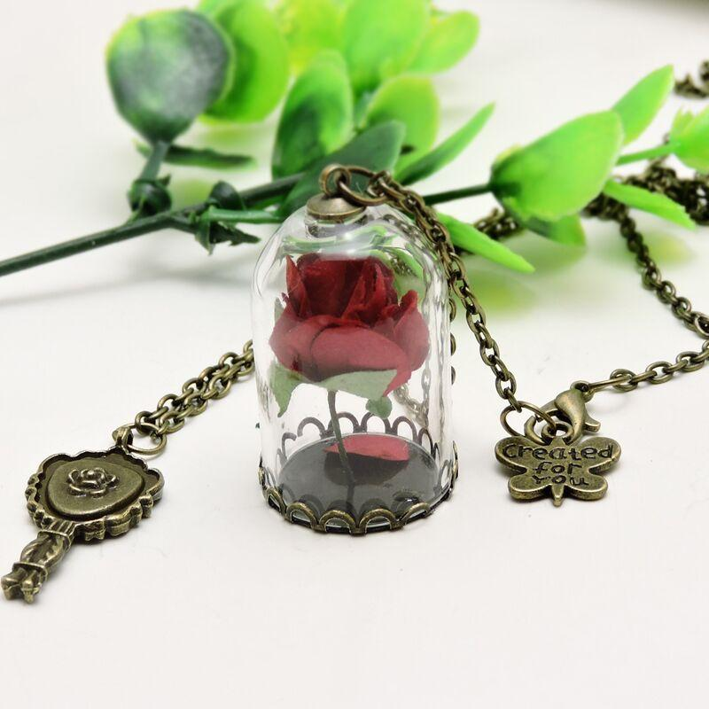 WholesaleRetro Crystal Glass Vial Necklace Butterfly Accessories