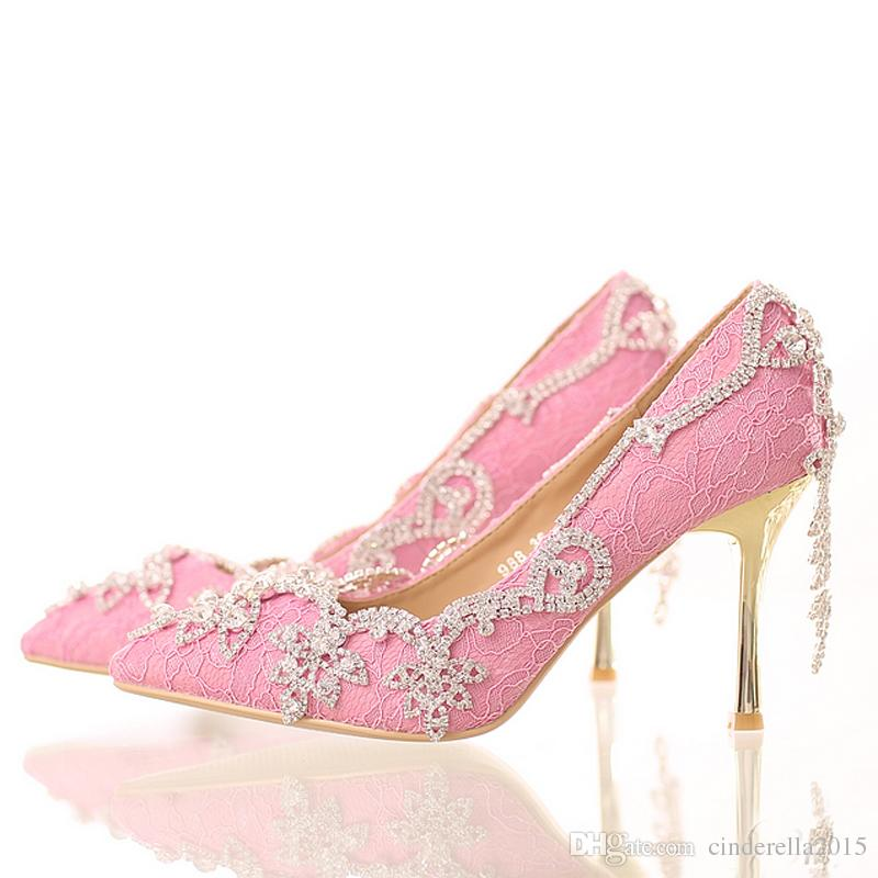 f9360464a4b Pink Lace Bride Shoes with Tassel Rhinestone Stiletto High Heel Wedding  Dress Shoes Pointed Toe Crystal Formal Dress Pumps