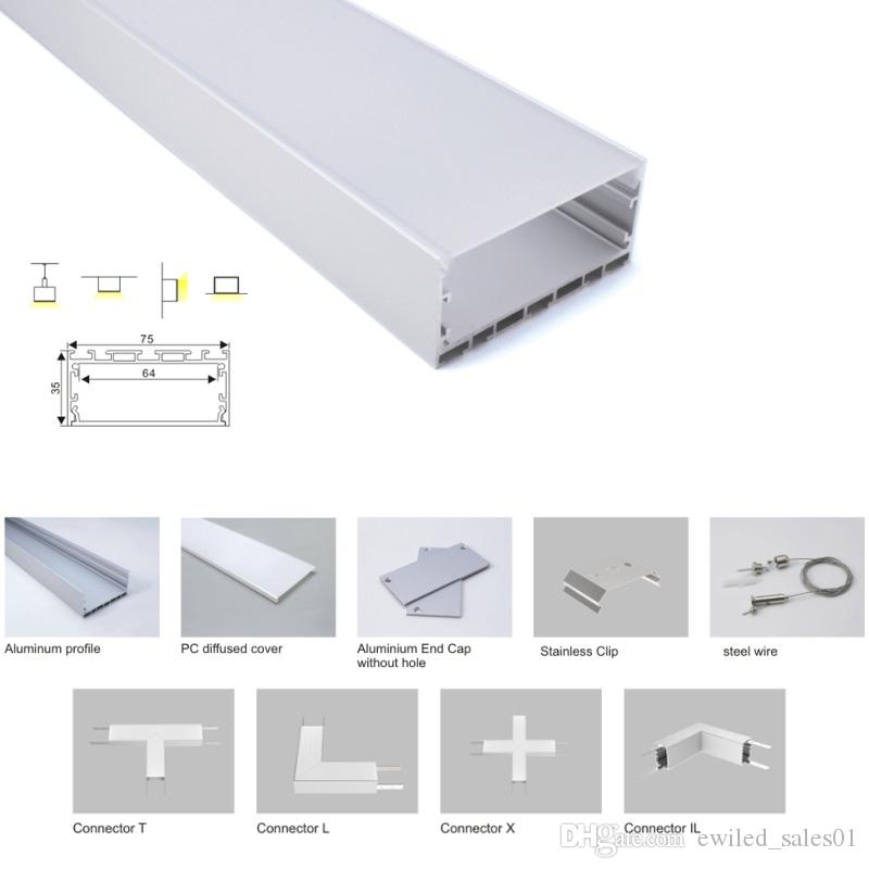 100 X 1M sets/lot T3-T5 tempered led aluminum profile channel and wide  square type led extrusion profile for suspension lights