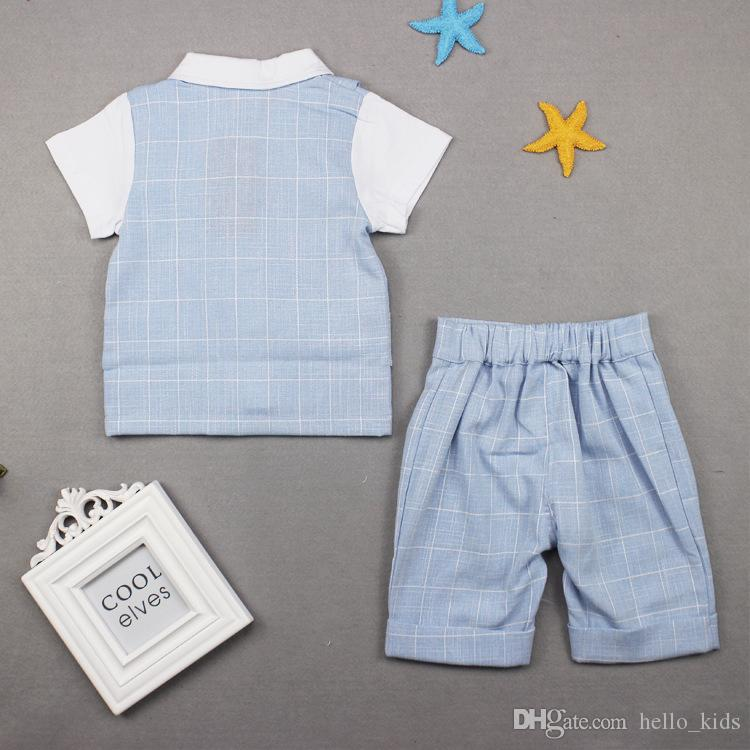 2017 Summer Children Suit Boys Plaid Gentleman bow Fake two pieces Short sleeve Tops Tees+Plaid Shorts Sets Baby Kids Clothing