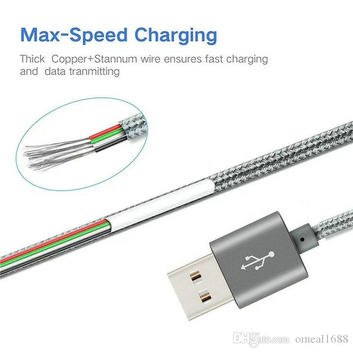 High-Speed-Kabel 1m 2m 3M Typ C-Micro-USB-Kabel Geflochtene Nylon-Legierung Metallkabel für Samsung S9 S10 S21 Anmerkung 10 HTC Android-Telefon