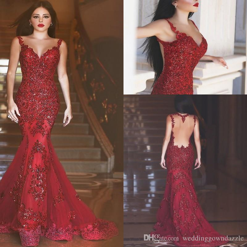 Red Sexy Lace Mermaid Evening Dresses 2016 New Arabic Illusion ...
