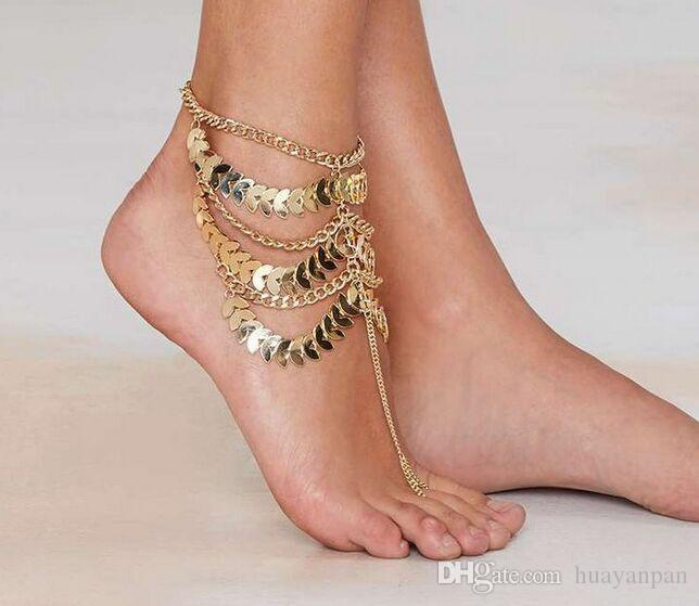 2016 Fashion Sexy Woman Boho Leaf Multi Row Gold disc coin Ankle Chain Anklet Bracelet Foot Jewelry Barefoot Sandals