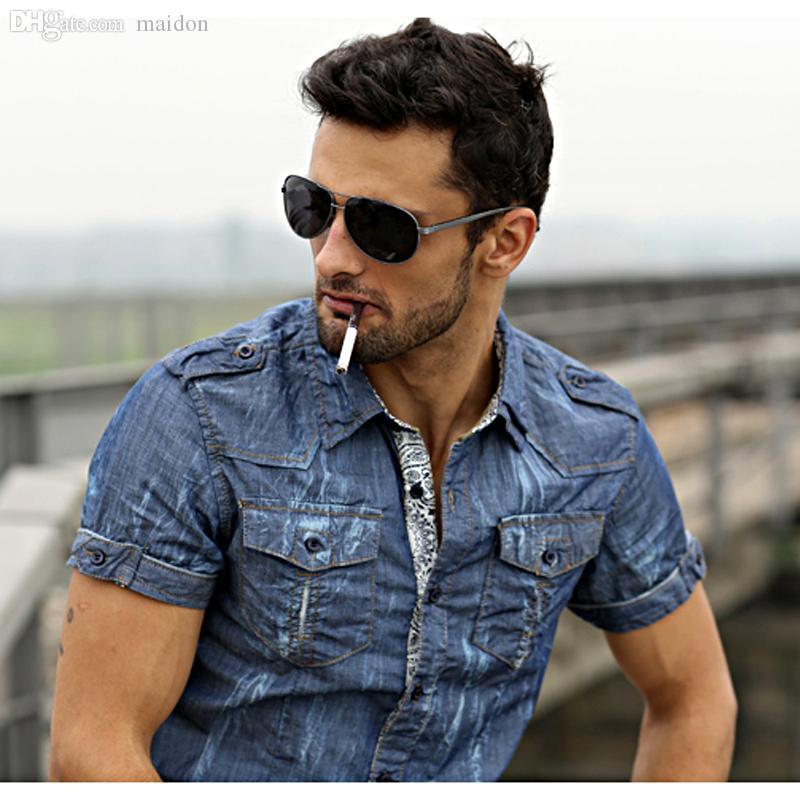Online Cheap Wholesale Men'S Denim Shirt .Outdoor Men'S Pigment ...