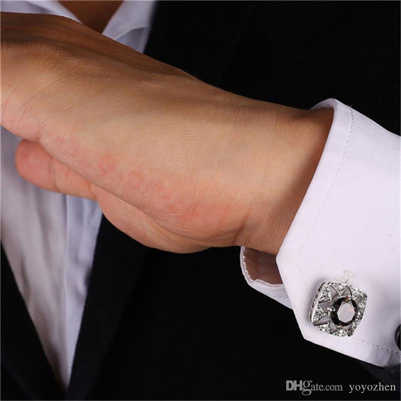 Mystic Cubic Zirconia Strass Boublasses pour hommes 18K Véritable Or / Platinum Plated Square chemise Boutons de manchette