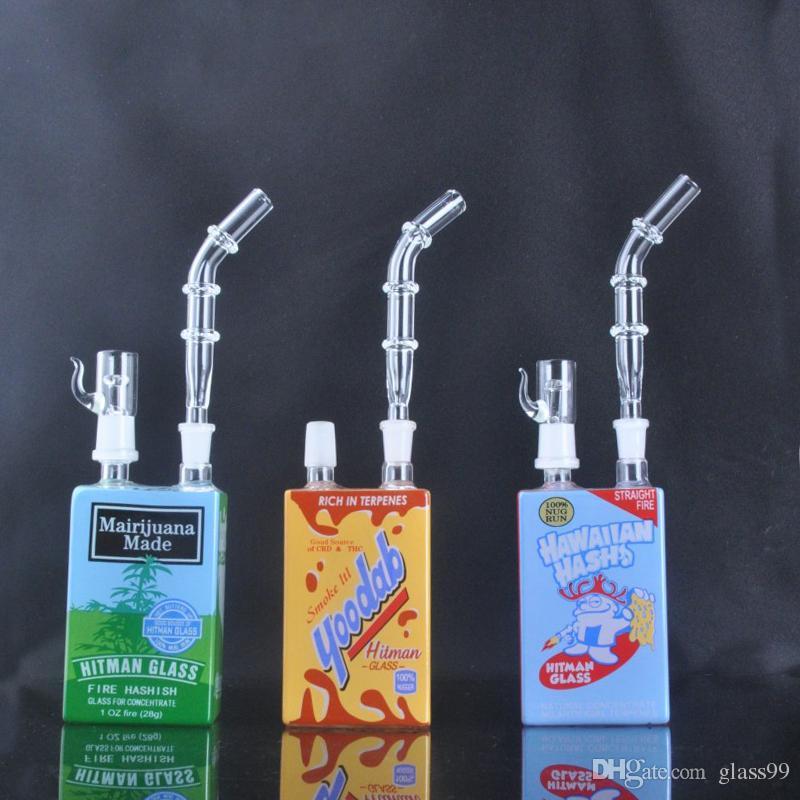 Neue Ankunft Hitman Mini Flüssigglas Rigs Glas Müsli Kasten Öl DAB Rig 14 mm mit domelloser und Nagelglas Bong