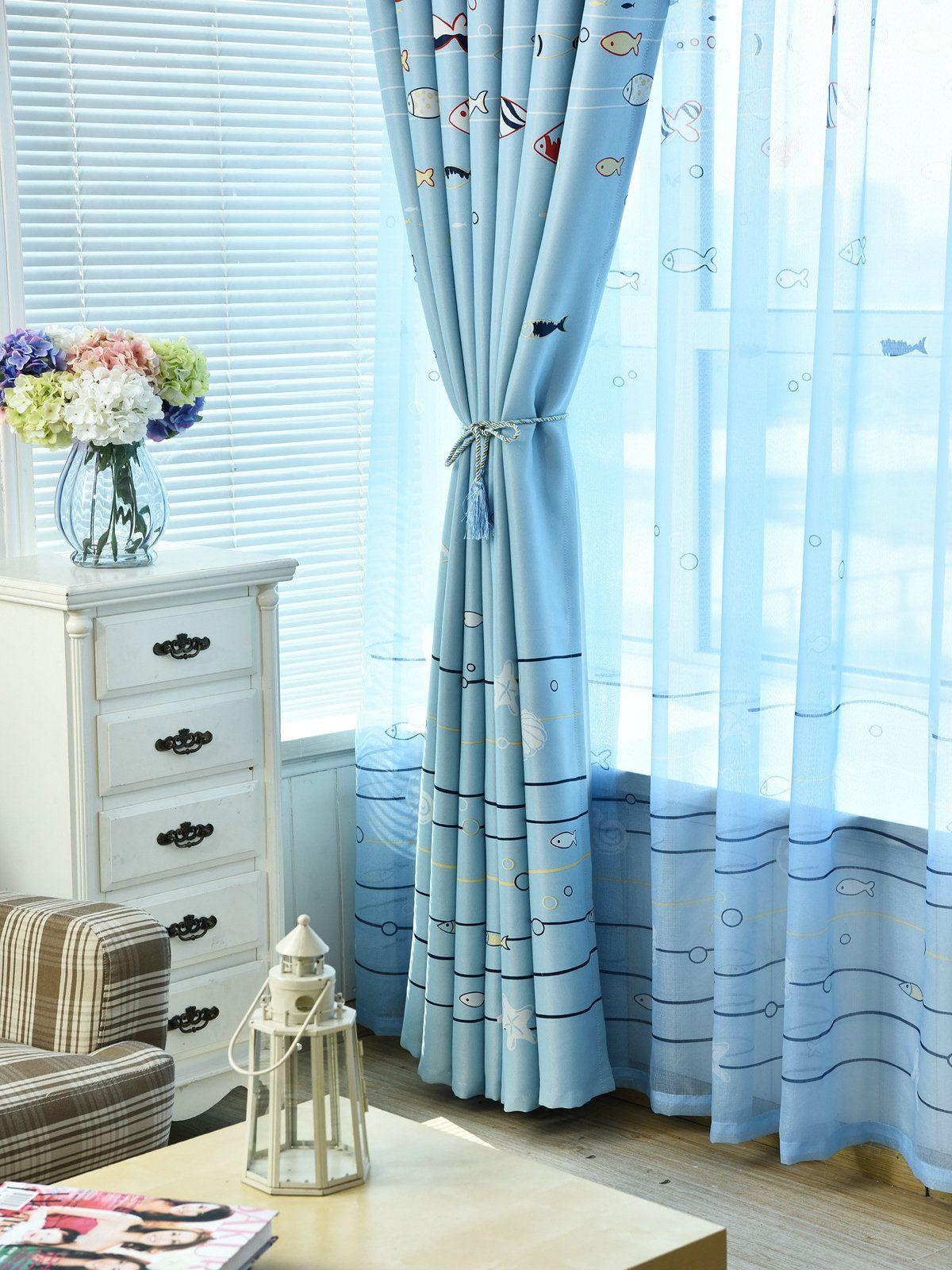 Tende finestra bambini Bambino Salotto Camera da letto Sea Fish modello blu lucido tende finestra pannello tenda casa decorazione