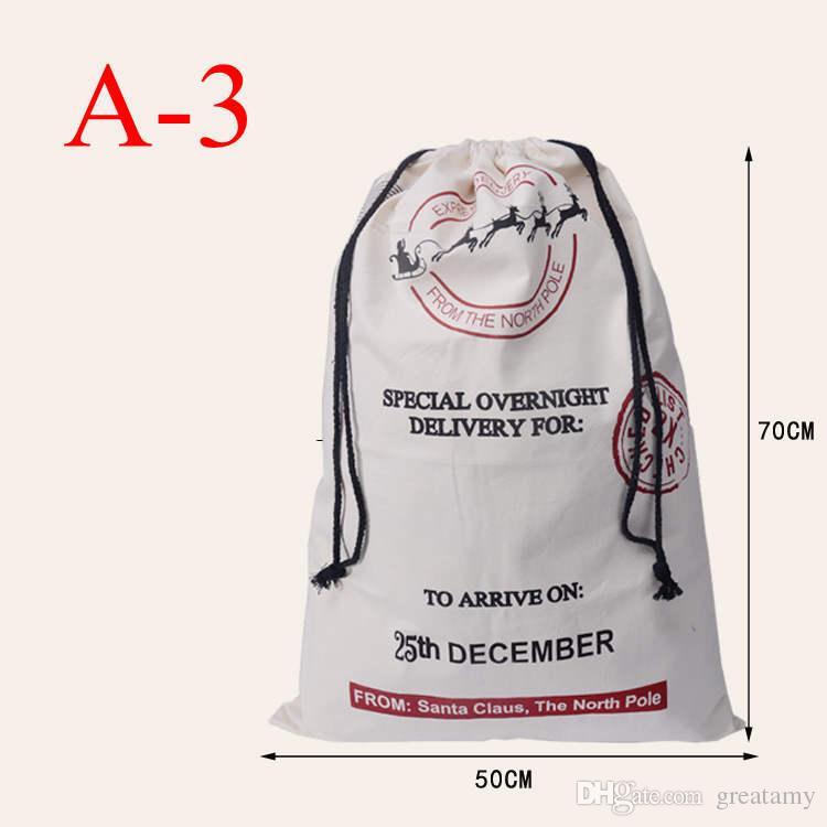 Regalo di Natale Sacco Borse 2016 di vendita calda di Natale grandi sacchi di tela 11styles Babbo Natale coulisse Borse con renne di cotone