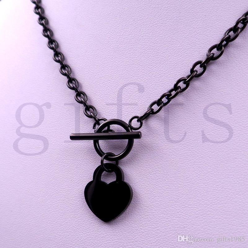 efccc495fda Women s Stainless Steel Heart Toggle Necklace bracelet chain set black charm