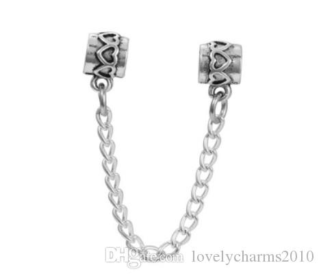 2017 Fit Sterling Silver Bracelet Heart Flower Safety Chain European Stopper Clip Lock Charm Fits Pandora Bracelet Jewelry Findings Xmas