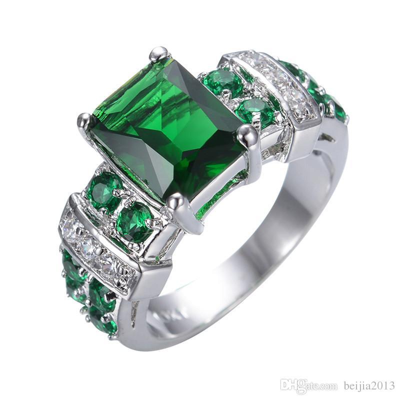 Freie Verschiffengröße 6-10 Schmuckneue Art und Weise Kubikzircon Smaragd 14K Weiß Gold-überzogener Ring RW0755
