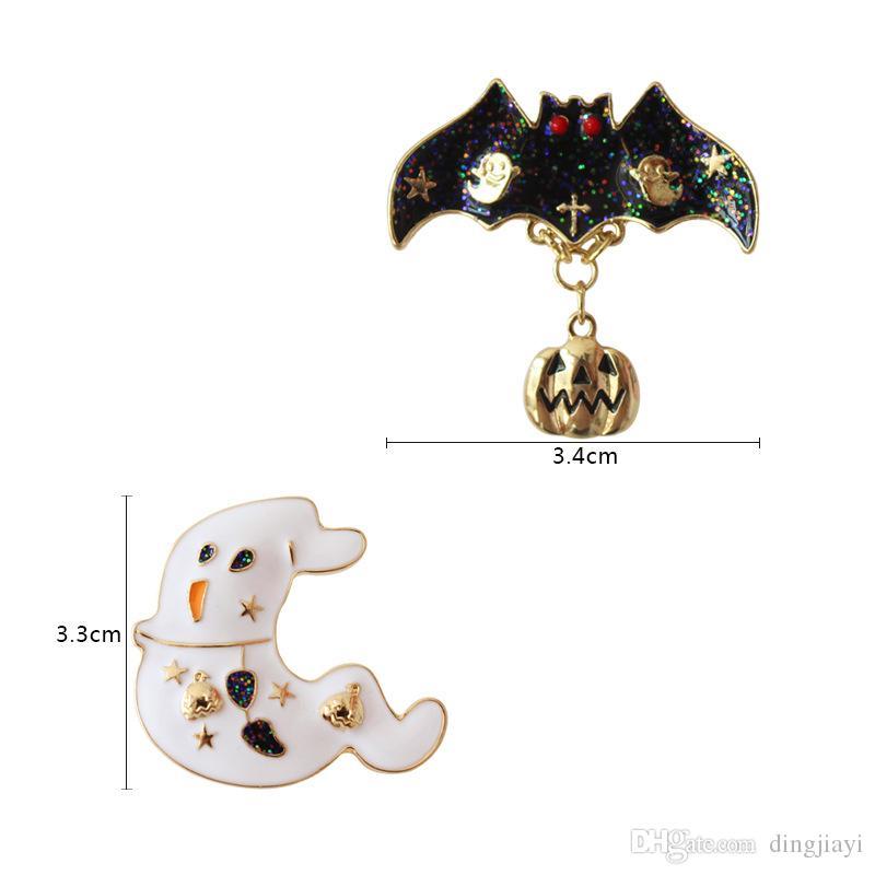 الأزياء والمجوهرات شكل سبيكة معدنية Hallowmas العنكبوت شبح الويب اليقطين نجمة شجرة بروش