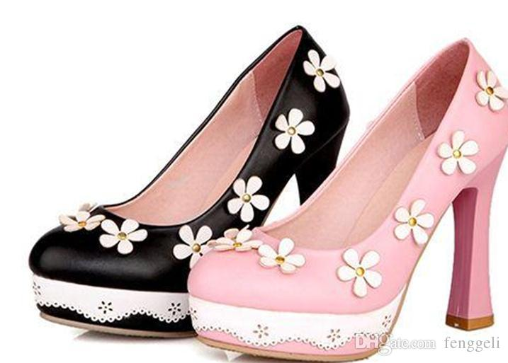 South Korea Vi new princess sweet shallow mouth round pink flowers in spring and summer high heeled shoes